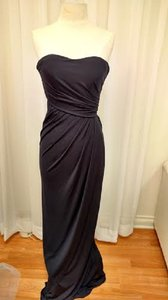 Mori Lee Navy Jersey Stretch Jersey/Color 695 Formal Bridesmaid/Mob Dress Size 8 (M)