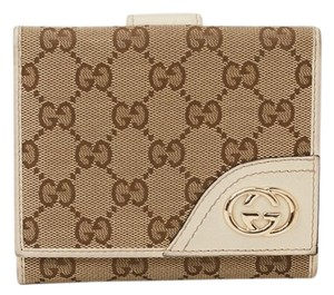 Gucci Gucci Monogram Tan Canvas Bifold Wallet #12563