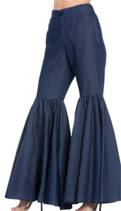 TOV Holy Ruffle Flare Wide Leg Pants Blue