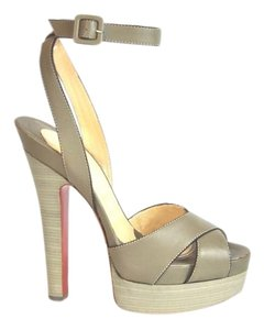 Christian Louboutin Vivaeva 160 Platform New In Box Taupe/Grey Sandals