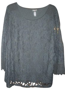 Style & Co Lace Crochet Bell Sleeves Top Black