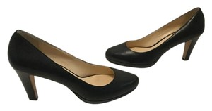 Cole Haan Stacked Wood Heel Black all leather Pumps