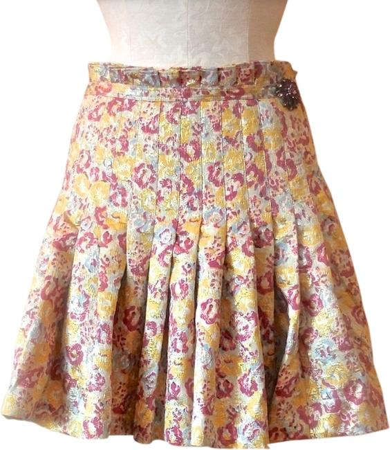 Item - Purple Yellow and Blue Brocade Skirt Size 6 (S, 28)