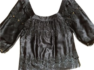 Lu Lu Lame Bodice Fully Lined Top Black