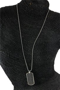 Accessory Necklace Carbon Fiber Accented Dog Tag Necklace.