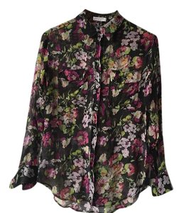 Equipment Print Sheer Shirt Top floral black