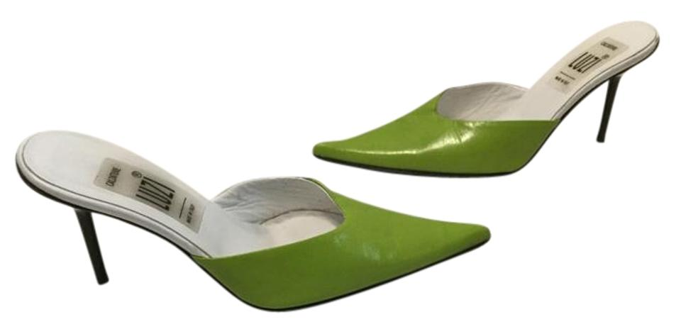 Price Reduction Green & White All Leather Thin Mules/Slides Stiletto Heels E37 Closed Mules/Slides Thin 71cef4