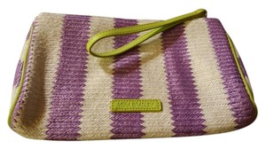 Vera Bradley Wristlet in Purple, white with green trim
