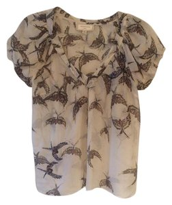 Moulinette Soeurs Anthropologie Beaded Embellishment 100% Silk Top Ivory