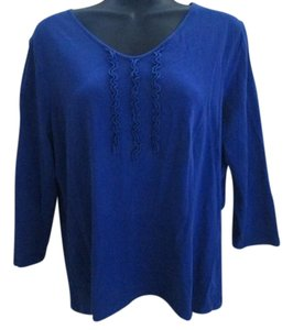 Liz Claiborne Casual Knit Stretchy T Shirt Royal Blue