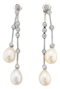 Chanel 18k White Gold Diamond and Pearl Drop Earrings