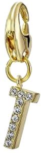 """Kate Spade New """"How Charming"""" Gold T Initial Charm with Pave Crystals"""