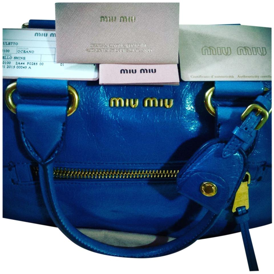 ecc520c9356 Miu Miu Prada Bauletto Azzurro Light Blue Vintage Leather Vitello ...