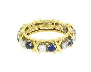 Tiffany Schlumberger Gold Platinum Diamond Blue Sapphires Eternity Ring Size 75