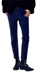 Free People Roller Crop Corduroy Dark Peacock Skinny Pants Dark Blue