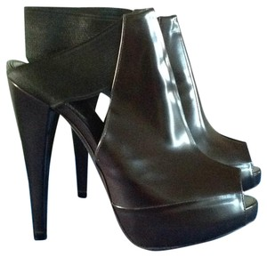 Donna Karan Polished Leather Charcoal Boots
