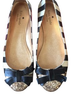 Kate Spade Black and White, gold tips Flats