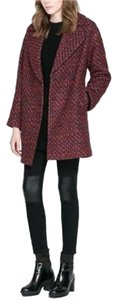 Zara Boucle Woven Four Button Pea Coat