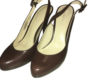 Nine West Classic Cut-out Smock Casual Leather Brown Pumps