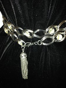 Heavy Silver Link Belt with Crystals, Tassel