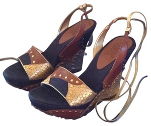 Carlos by Carlos Santana Studded Blue Denim Leather Patchwork Wedges