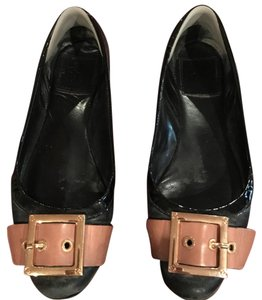 Tory Burch Buckle Patent Lined Leather Black Flats