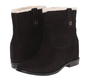Cole Haan Suede Shearling Black Boots