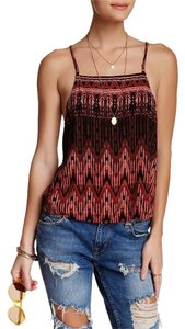 Free People Chevron Stripes Cutaway Back Top Tobacco Combo