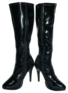 Other Faux Patent Stretchy Stiletto Black Platforms