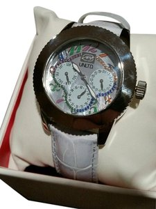 Marc Ecko New MARC ECKO POWDER BLUE THE LUCKY MULTICOLOR MOTHER OF PEARL WATCH