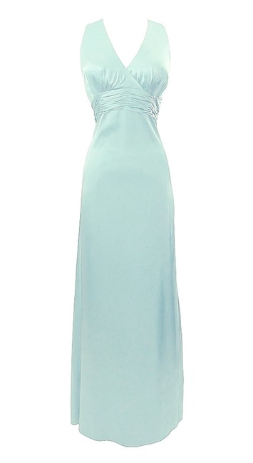 Item - Turquoise Satin Style D489 Casual Bridesmaid/Mob Dress Size 10 (M)