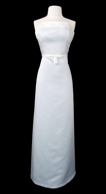 Item - Ice Blue/White Satin Style D263 Casual Bridesmaid/Mob Dress Size 12 (L)