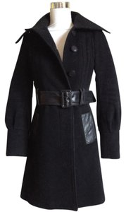 Mackage Wool Leather Trim Belted A-line Pea Coat