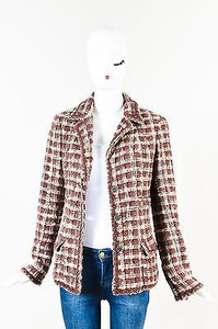 Chanel Red Gray White Silver Cc Button Tweed Multi-Color Jacket