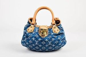 Louis Vuitton Tan Denim Leather Monogram Gold Pleaty Tote in Blue