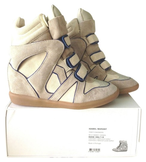 Isabel Marant Sneakers Sneaker Wedge Wedges Kicks High Top Suede Velcro Fashion Luxury beige Athletic