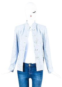 St. John John Couture Light Knit Sparkle Embellished Ls Blue Jacket
