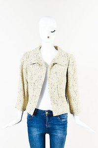 Oscar de la Renta Oscar De La Renta Beige Light Green Tweed Gold Sequin Tweed Blazer Jacket