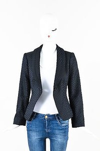 Armani Collezioni Armani Collezioni Navy Black Wool Jacquard Woven Single Button Blazer
