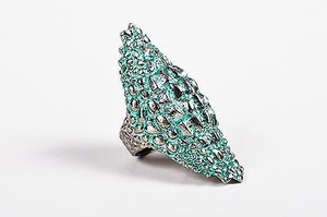 Other Venyx 9kt White Gold Green Ceramic Plated Diamond Lady Caiman Ring