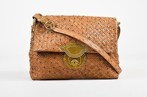 Bottega Veneta Tan Ostrich Shoulder Bag