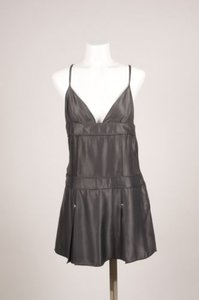 Louis Vuitton Gray Silk Paneled Pleated Sleeveless Top