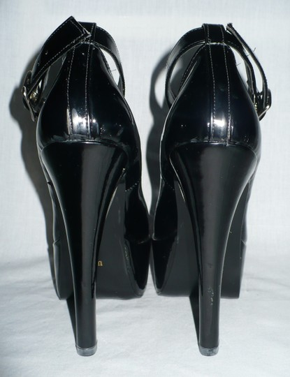 N.Y.L.A. Stiletto Ankle Strap Faux Patent Exotic Dance Costume Mary Jane Black Platforms