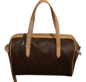DKNY Logo Signature Shoulder Satchel in Brown