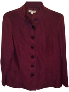 Coldwater Creek Solid Print Berry Red Jacket