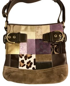 Coach Patchwork Leather Cow Hair Cross Body Bag