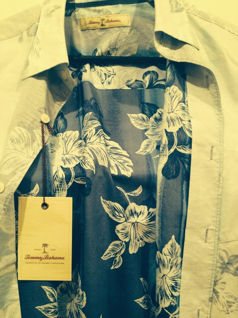 Tommy Bahama Button Down Shirt Blue and white print