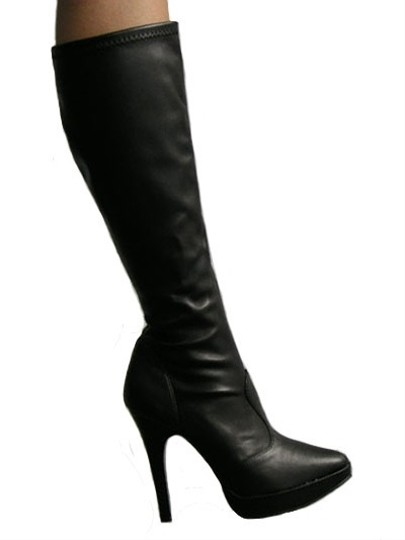 Other Stiletto Faux Patent Laces Black Platforms