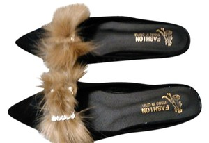 Other Tan faux fox and rhinestone embellished black flat mules 8 Mules