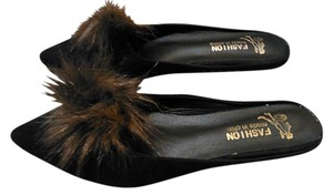 Other Brown faux fox embellished black flat mules 8 Mules